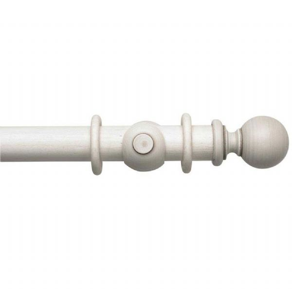Modern Country Ball 45mm Wooden Curtain Pole - Brushed Ivory